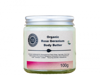 Heavenly Organics Rose Geranium Body Butter white background