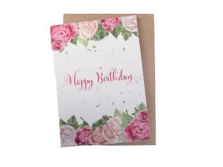 sustainable birthday card peonies green planet paper plantable birthday card