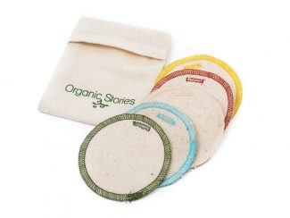 UK distributor Organic Stories sustainable eco friendly lifestyle products organic cotton facial pads in bag