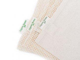 UK distributor Organic Stories sustainable eco friendly lifestyle products organic cotton fruit veg bag 3 pack closeup
