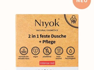 UK distributor Niyok 2 in 1solid shower bar and moisturiser natural cosmetics intense red
