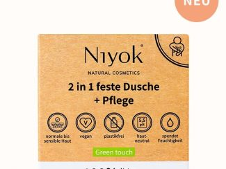UK distributor Niyok 2 in 1solid shower bar and moisturiser natural cosmetics Green touch