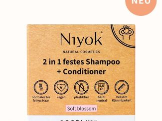 UK distributor Niyok 2-in 1solid shower bar and conditioner natural cosmetics soft blossom