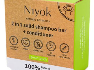 UK distributor Niyok 2 in 1 solid shampoo bar and conditioner natural cosmetics Green Touch
