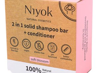 UK distributor Niyok 2 in 1 solid shampoo bar and conditioner natural cosmetics soft blossom