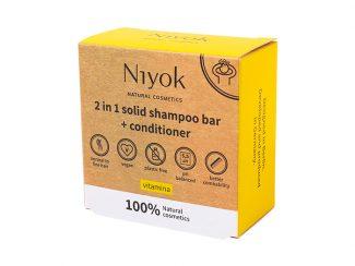 UK distributor Niyok 2-in 1solid shower bar and moisturiser natural cosmetics yellow Vitamina