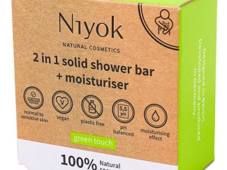 UK distributor Niyok 2 in 1 solidshower bar moisturiser natural cosmetics green touch