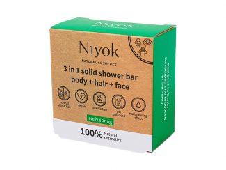 UK distributor Niyok 3 in 1 solid shower bar body hair face nautral cosmetics dark green Early Spring