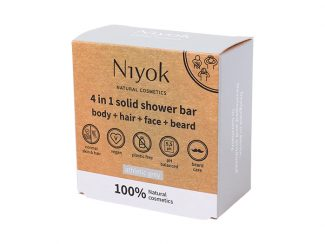 UK distributor Niyok 4 in 1 solid shower bar-bodyhair face beard natural cosmetics Athletic Grey