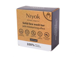UK distributor Niyok solid face wash bar natural cosmetics black patchouli