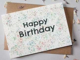 UK distributor Green Planet Paper plantable greeting cards happy birthday paint splatter
