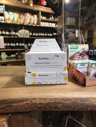 UK distributor BombusLeaf Beeswax Paper Wraps Sustainble Zero waste biodegradable vegan CDU