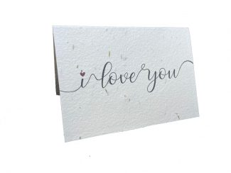 UK distributor Green Planet Paper plantable greeting cards I love you