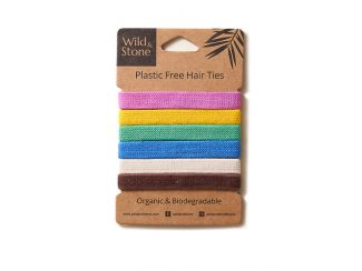 UK distributor Wild Stone Sustainable lifestyle products zero waste Plastic Free Hair Ties 6 Pack Multi Colour