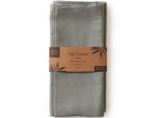 UK distributor Wild Stone Sustainable lifestyle products zero waste Tea Towels Organic Cotton Set of 2 moss green