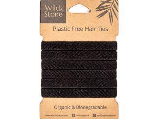 UK distributor Wild Stone Sustainable lifestyle products zero waste Plastic Free Hair Ties 6 Pack Black
