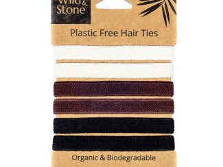 UK distributor Wild Stone Sustainable lifestyle products zero waste-Plastic Free Hair Ties 6 Pack Natural