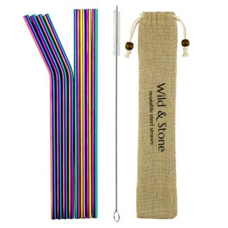 UK distributor Wild Stone Sustainable lifestyle products zero waste Reusable Metal Drinking Straws Stainless Steel Rainbow Colour 8 Pack