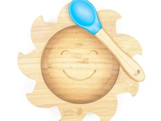 UK distributor Wild Stone Sustainable lifestyle products zero waste Baby Bamboo Weaning Bowl and Spoon Set baby blue