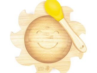 UK distributor Wild Stone Sustainable lifestyle products zero waste Baby Bamboo Weaning Bowl and Spoon Set baby sunshine yellow