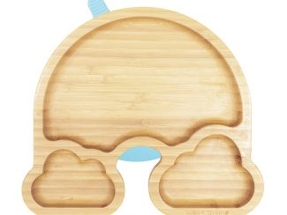 UK distributor Wild Stone Sustainable lifestyle products zero waste Baby Bamboo Weaning Suction Section Plate Over The Rainbow Baby blue