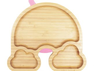 UK distributor Wild Stone Sustainable lifestyle products zero waste Baby Bamboo Weaning Suction Section Plate Over The Rainbow Baby Pink