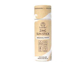 UK distributor suntribe sustainable sunscreen organic plasticfree cardboard display push up tick white pf30