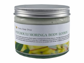 UK distributor FunkysoapShop natural beauty products plasticfree toxinfree patchouli body lotion moringa glass