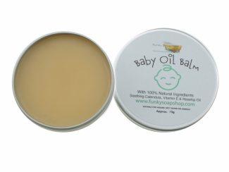 UK distributor FunkysoapShop plasticfree natural baby oil balm 70g